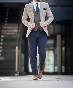 Male model in a three part suit