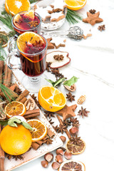 Mulled wine white background Hot red punch fruit and spices