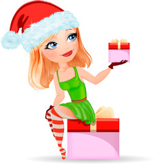 Cute cartoon woman, girl in a red cap holding Christmas gifts from Santa for Christmas, New Year, vector