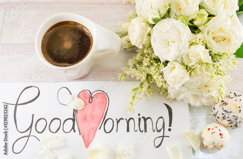 White roses coffee and good morning note stock photo and royalty white roses coffee and good morning note mightylinksfo