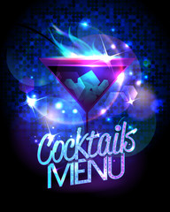 Cocktails menu with burning cocktail and disco sparkles