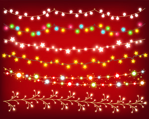 Garland colorful shining set on red background to decorate card, poster, banner, flyer and for Christmas design. Collection of glowing vector garlands