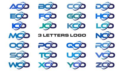 3 letters modern generic swoosh logo ACO, BCO, CCO, DCO, ECO, FCO, GCO, HCO, ICO, JCO, KCO, LCO, MCO, NCO, OCO, PCO, QCO, RCO, SCO, TCO, UCO, VCO, WCO, XCO, YCO, ZCO