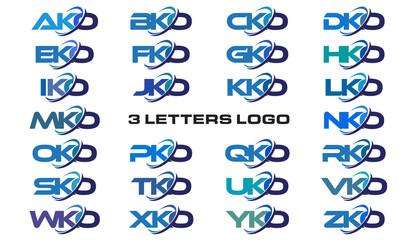 3 letters modern generic swoosh logo AKO, BKO, CKO, DKO, EKO, FKO, GKO, HKO, IKO, JKO, KKO, LKO, MKO, NKO, OKO, PKO, QKO, RKO, SKO, TKO, UKO, VOK, WKO, XKO, YKO, ZKO