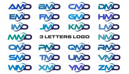 3 letters modern generic swoosh logo AMO, BMO, CMO, DMO, EMO, FMO, GMO, HMO, IMO, JMO, KMO, LMO, MMO, NMO, OMO, PMO, QMO, RMO, SMO, TMO, UMO, VMO, WMO, XMO, YMO, ZMO