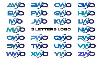 3 letters modern generic swoosh logo AWO, BWO, CWO, DWO, EWO, FWO, GWO, HWO, IWO, JWO, KWO, LWO, MWO, NWO, OWO, PWO, QWO, RWO, SWO, TWO, UWO, VWO, WWO, XWO, YWO, ZWO