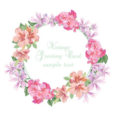 Summer Vintage wreath Greeting Card flowers, Illustration  Floral Wedding Invitation in Watercolor style