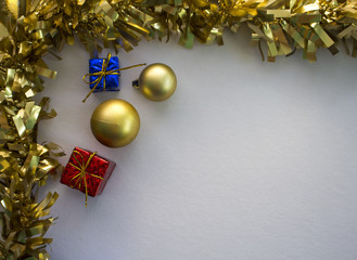 Festive photo background with Christmas frame and presents