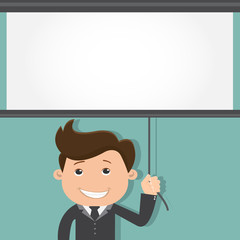 Business man with a board over his head - vector illustration