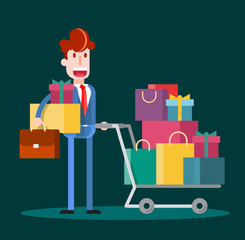 Flat Businessman Shopping on Dark Background. Isolated Flat Vector Illustration.