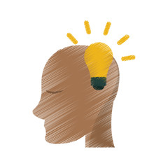 drawing head human new idea bulb vector illustration eps 10