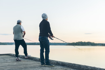 Sweden, Blekinge, Karlskrona, Two men fishing