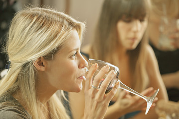 Sweden, Blonde woman drinking wine with friend