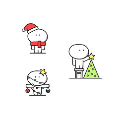Cute man in red hat and scarf looks like santa claus, with Christmas decorations, put the star on the top of the tree. Xmas and new year holidays - cartoon vector illustration.