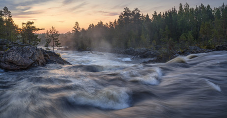 Sweden, Halsingland, View of Voxnan river