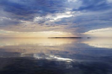 Finland, Varsinais-Suomi, Baltic Sea at dusk