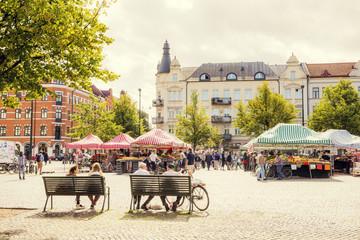 Sweden, Skane, Malmo, Mollevangen, Mollevangstorget, Market on town square