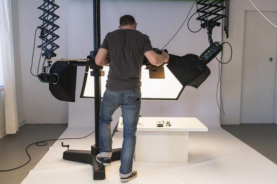 Sweden, Man photographic in studio