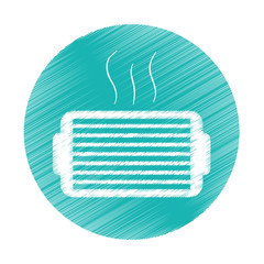ventilation grill icon inside blue circle over white background. colorful and sketch design. vector illustration