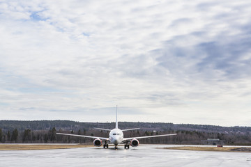 Sweden, Medelpad, Sundsvall, Airplane on runway