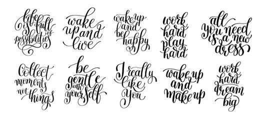 black and white inspirational phrase set, positive lettering com