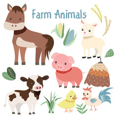 Cute Farm Animals and Plant Element Illustration Set