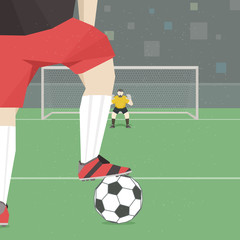 Soccer player taking penalty kick. Vector illustration.
