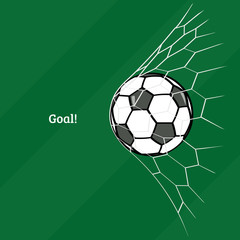Soccer ball in net. Flat style. Vector illustration.