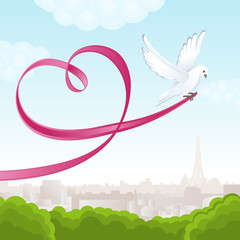 White dove with pink ribbon in the form of heart. A romantic view of Paris. Vector illustration.