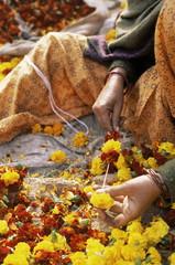 Flower market, Lado Sarai, Delhi, India, Asia