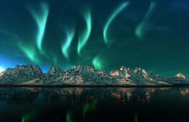 Tuinposter Noorderlicht Aurora Borealis Green Northern Lights
