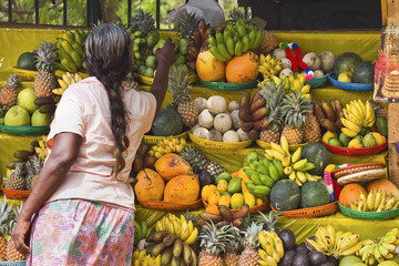 Temple fruit offerings for sale in this sacred pilgrimage town, popular with all religions, Kataragama, Uva Province, Sri Lanka, Asia
