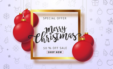 Merry christmas sale background with Christmas balls hanging ornament and icon set pattern. Vector illustration.Wallpaper.flyers, invitation, posters, brochure, banners, calendar