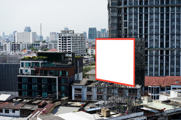 Blank billboard on building for advertisement