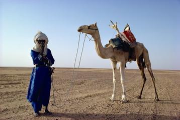 Tuareg tribesman and camel, Niger, Africa
