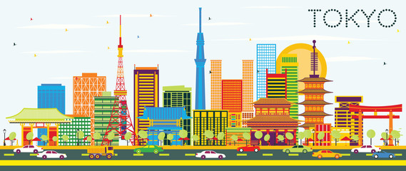 Tokyo Skyline with Color Buildings and Blue Sky.