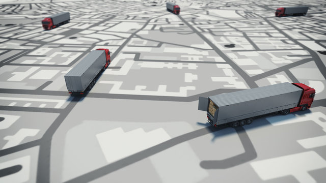GPS tracking. 3D Rendering