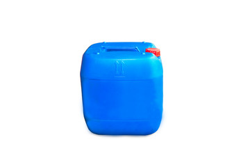 blue plastic chemical gallon container isolated on white background.