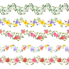 romantic floral set of seamless borders with roses, crocus, chry