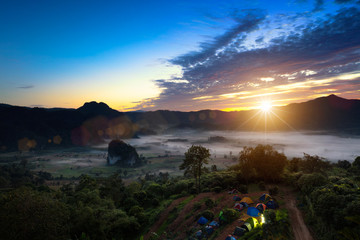 Phu Lanka The landscape of misty mountains and at sunrise, Phayao northen Thailand