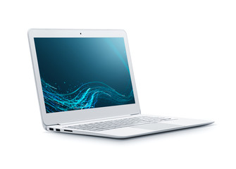 Laptop with abstract wallpaper isolated on white background - Clipping path included