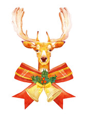 Bright watercolor Christmas deer on white background