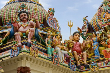 Hindu imagery in the Sri Mariamman temple, Chinatown, Singapore, Southeast Asia, Asia