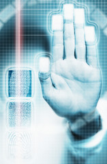 Biometric scanning of fingerprints in security system