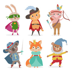 Cute animal kids in different costume. Cartoon vector illustrati