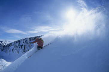 Man skiing on mountain slope