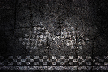 Finish line of racing crack asphalt road background.