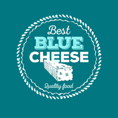 Cheese icon hand drawn. Round cheese wheel sign. Sliced food with typographic. Circle frame. Best Blue Cheese. Vector