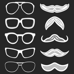 Set of hipster nerd glasses and stylish mustaches on black. Web Banner Vector Flat Design. Vector Mustache and Glasses Icons. Hipster creative design template illustration