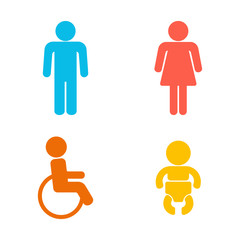 Set of 4 restroom web and mobile icons. Man, woman, child, disability. Vector illustration isolated on white